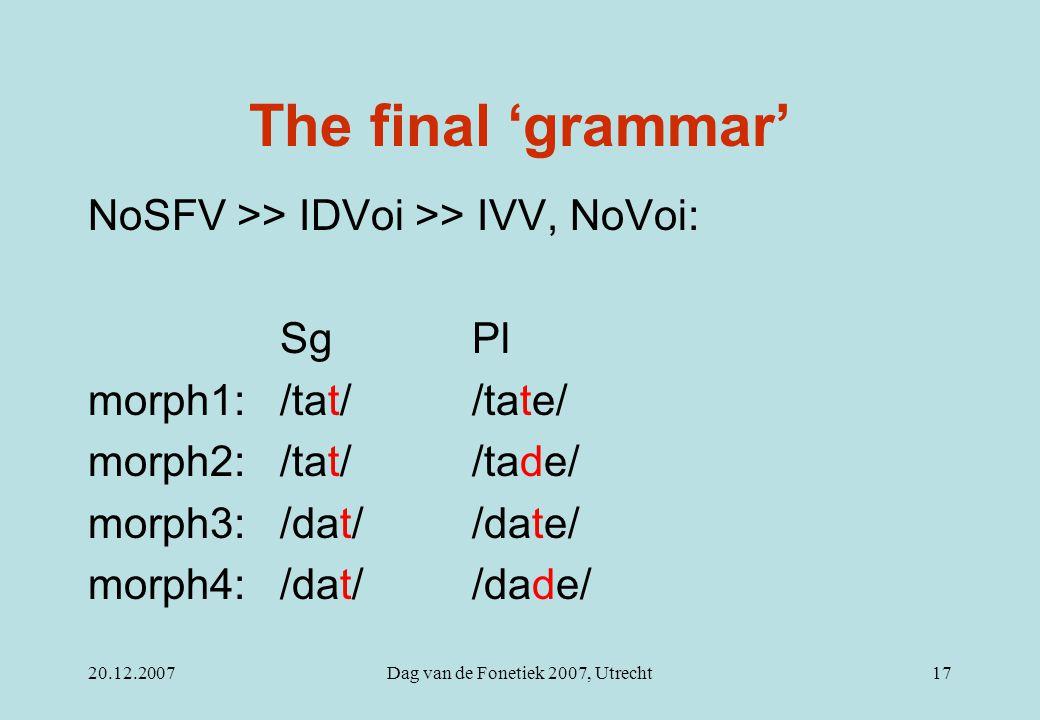 20.12.2007Dag van de Fonetiek 2007, Utrecht17 The final 'grammar' NoSFV >> IDVoi >> IVV, NoVoi: Sg Pl morph1:/tat//tate/ morph2:/tat//tade/ morph3:/dat//date/ morph4:/dat//dade/