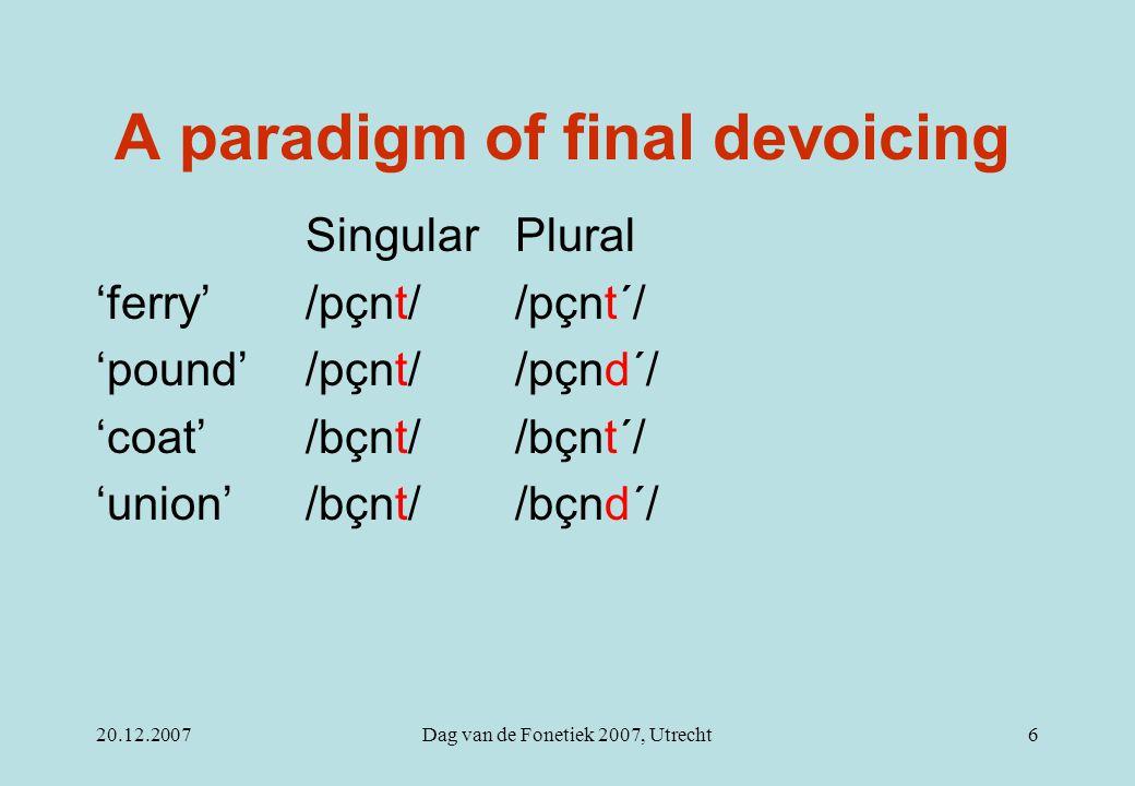 20.12.2007Dag van de Fonetiek 2007, Utrecht6 A paradigm of final devoicing Singular Plural 'ferry'/pçnt//pçnt´/ 'pound'/pçnt/ /pçnd´/ 'coat'/bçnt/ /bç