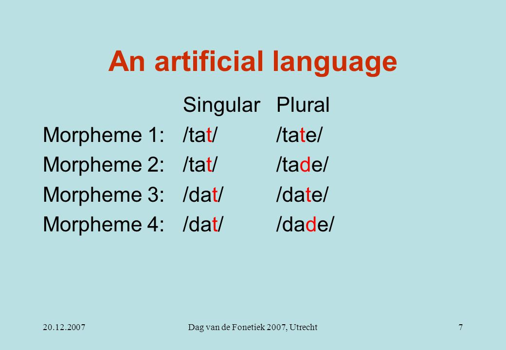 20.12.2007Dag van de Fonetiek 2007, Utrecht7 An artificial language Singular Plural Morpheme 1: /tat/ /tate/ Morpheme 2: /tat/ /tade/ Morpheme 3: /dat
