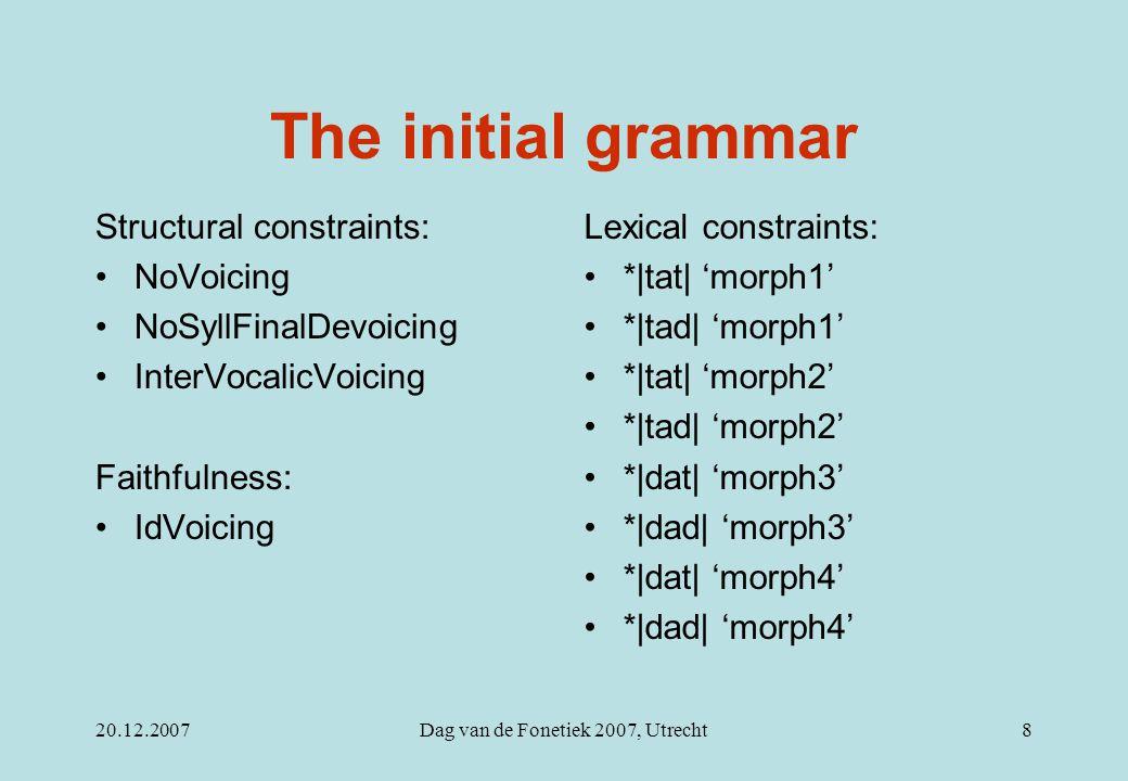 20.12.2007Dag van de Fonetiek 2007, Utrecht8 The initial grammar Structural constraints: NoVoicing NoSyllFinalDevoicing InterVocalicVoicing Faithfulness: IdVoicing Lexical constraints: *|tat| 'morph1' *|tad| 'morph1' *|tat| 'morph2' *|tad| 'morph2' *|dat| 'morph3' *|dad| 'morph3' *|dat| 'morph4' *|dad| 'morph4'