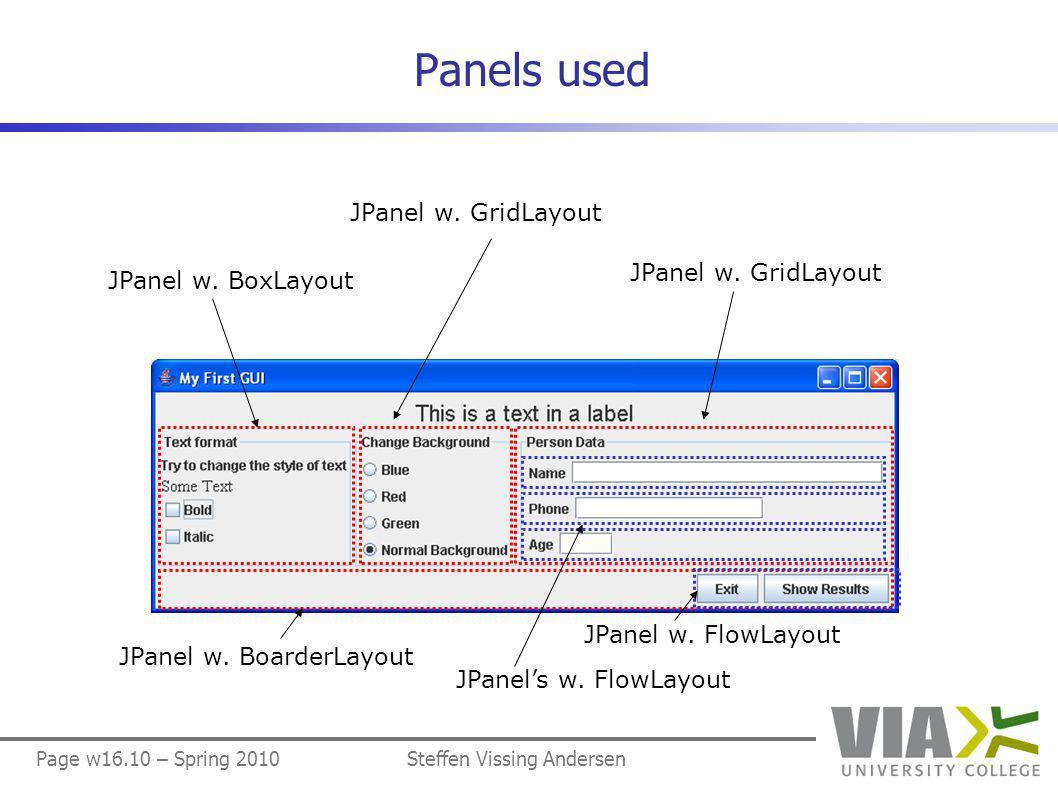 Page w16.10 – Spring 2010Steffen Vissing Andersen Panels used JPanel w.