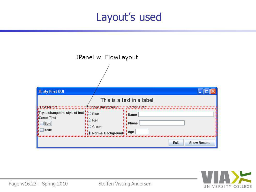 Page w16.23 – Spring 2010Steffen Vissing Andersen Layout's used JPanel w. FlowLayout