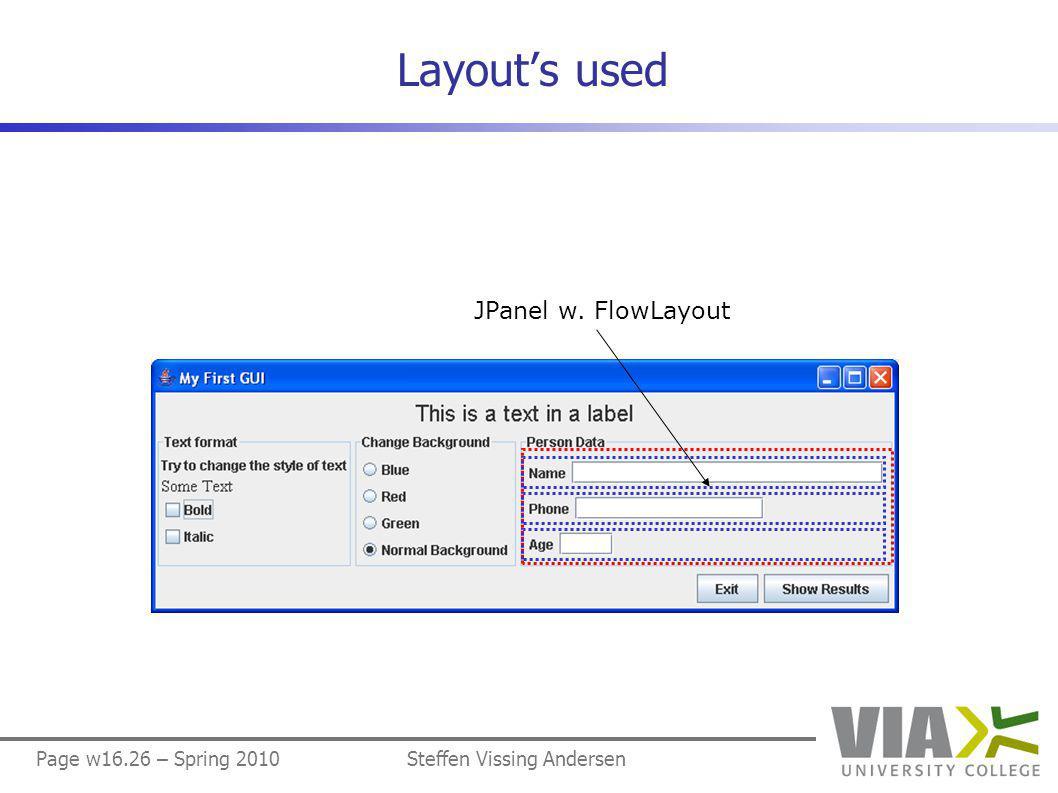 Page w16.26 – Spring 2010Steffen Vissing Andersen Layout's used JPanel w. FlowLayout