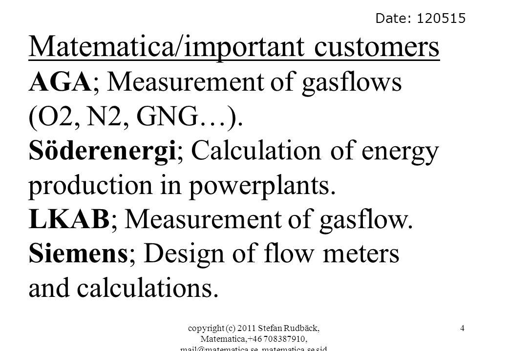 copyright (c) 2011 Stefan Rudbäck, Matematica,+46 708387910, mail@matematica.se, matematica.se sid 4 Date: 120515 Matematica/important customers AGA; Measurement of gasflows (O2, N2, GNG…).