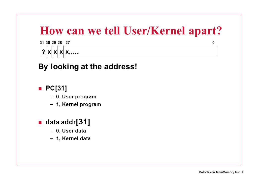 Datorteknik MainMemory bild 2 How can we tell User/Kernel apart? By looking at the address! PC[31] –0, User program –1, Kernel program data addr [31]