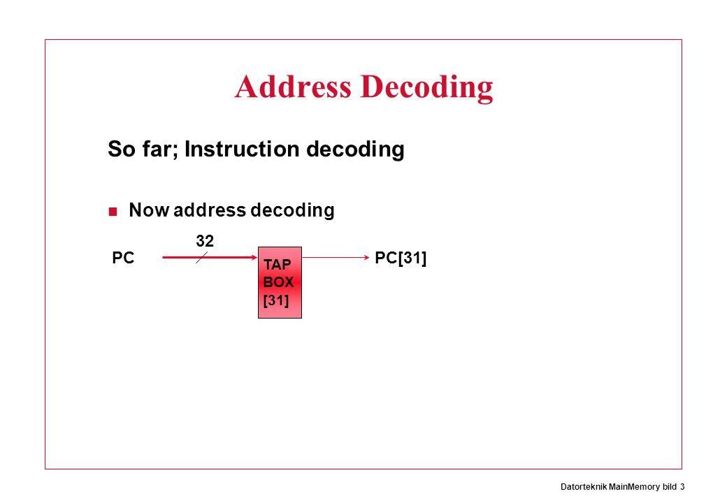 Datorteknik MainMemory bild 3 Address Decoding So far; Instruction decoding Now address decoding PC 32 PC[31] TAP BOX [31]