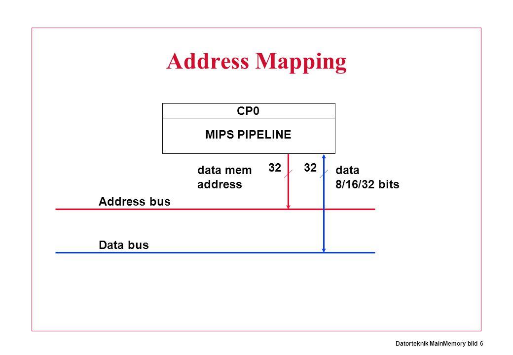 Datorteknik MainMemory bild 6 Address Mapping CP0 MIPS PIPELINE 32 data mem address Address bus Data bus 32 data 8/16/32 bits
