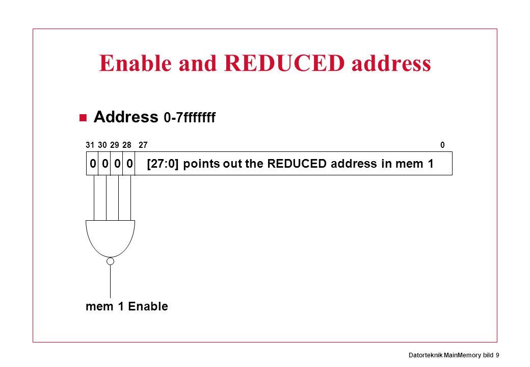 Datorteknik MainMemory bild 9 Enable and REDUCED address Address 0-7fffffff 0000 31302928270 [27:0] points out the REDUCED address in mem 1 mem 1 Enab
