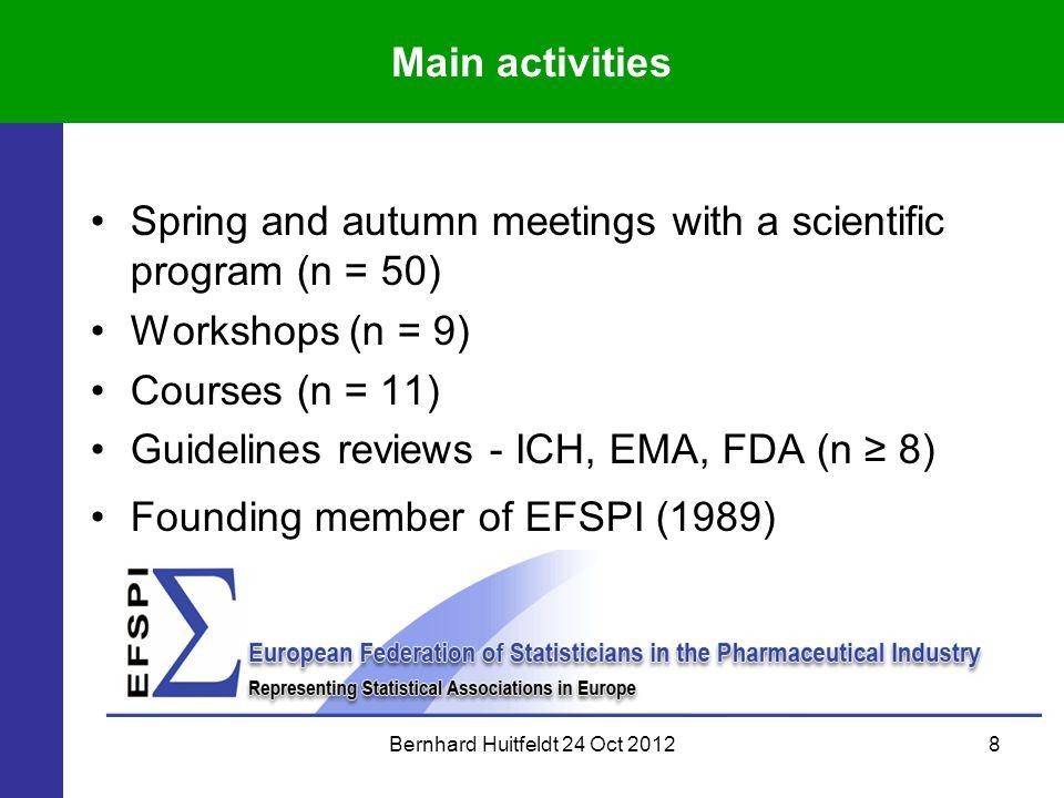 Bernhard Huitfeldt 24 Oct 20128 Main activities Spring and autumn meetings with a scientific program (n = 50) Workshops (n = 9) Courses (n = 11) Guide