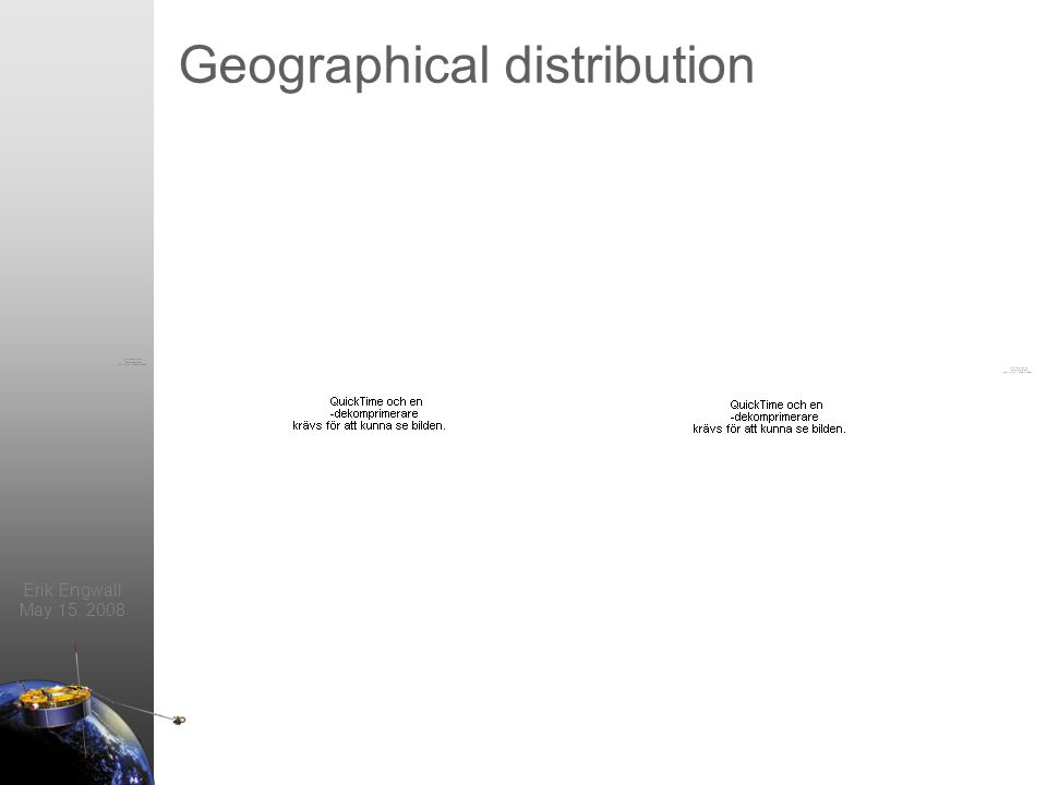 Erik Engwall May 15, 2008 Geographical distribution