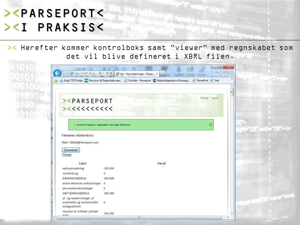 >< Herefter kommer kontrolboks samt viewer med regnskabet som det vil blive defineret i XBRL filen.