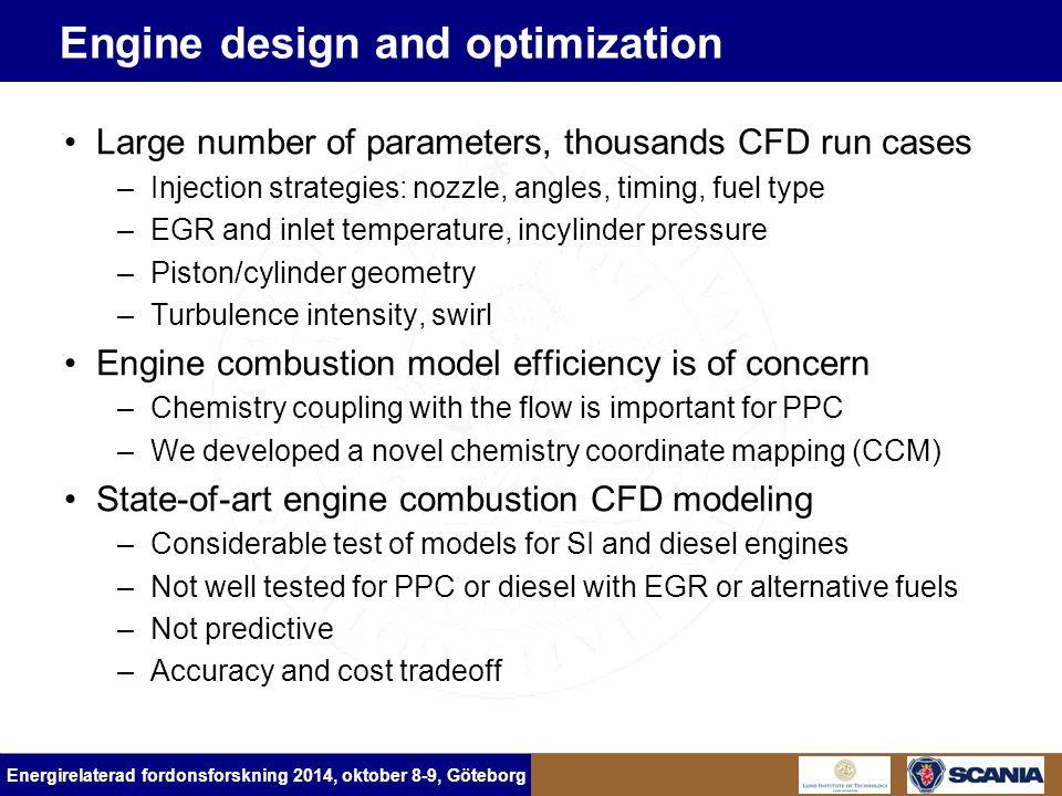 Energirelaterad fordonsforskning 2014, oktober 8-9, Göteborg Engine design and optimization Large number of parameters, thousands CFD run cases –Injec