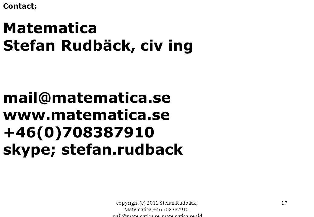 copyright (c) 2011 Stefan Rudbäck, Matematica,+46 708387910, mail@matematica.se, matematica.se sid 17 Contact; Matematica Stefan Rudbäck, civ ing mail@matematica.se www.matematica.se +46(0)708387910 skype; stefan.rudback