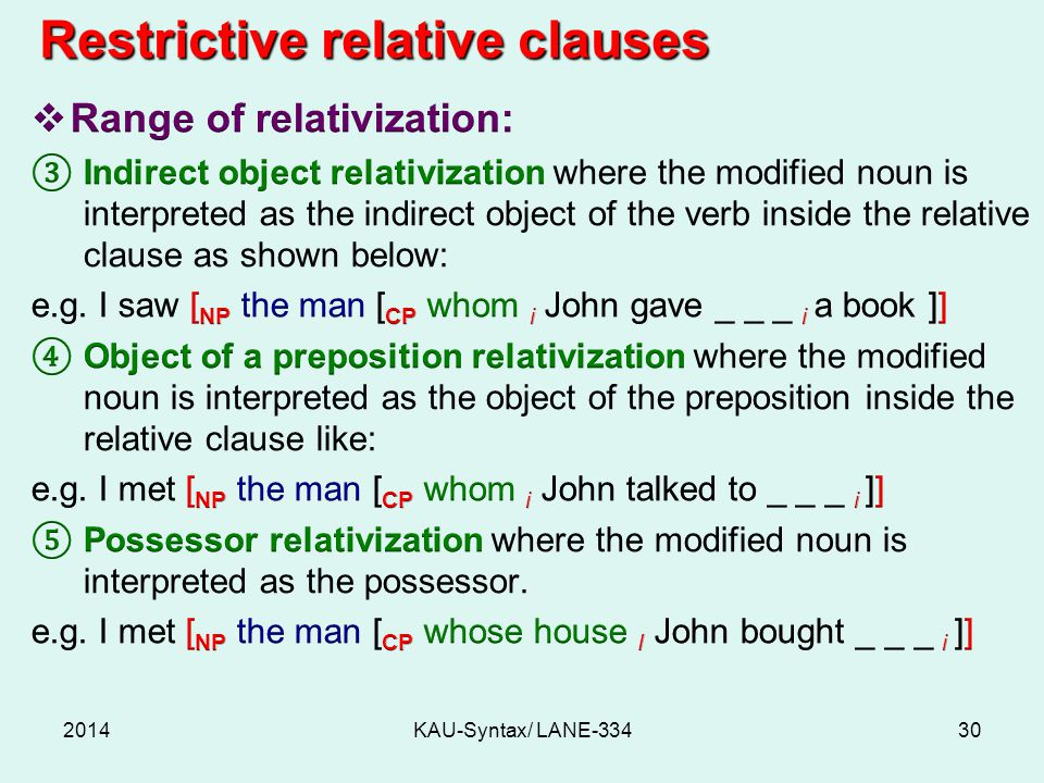 2014KAU-Syntax/ LANE-33430 Restrictive relative clauses