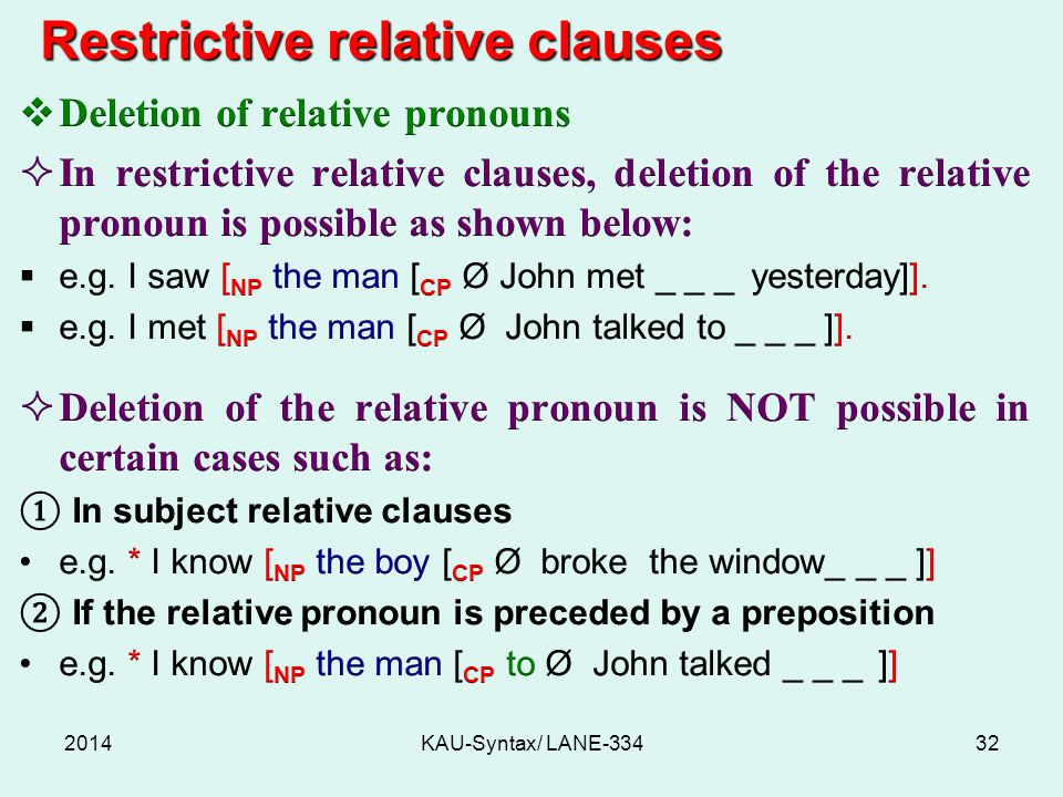 2014KAU-Syntax/ LANE-33432 Restrictive relative clauses