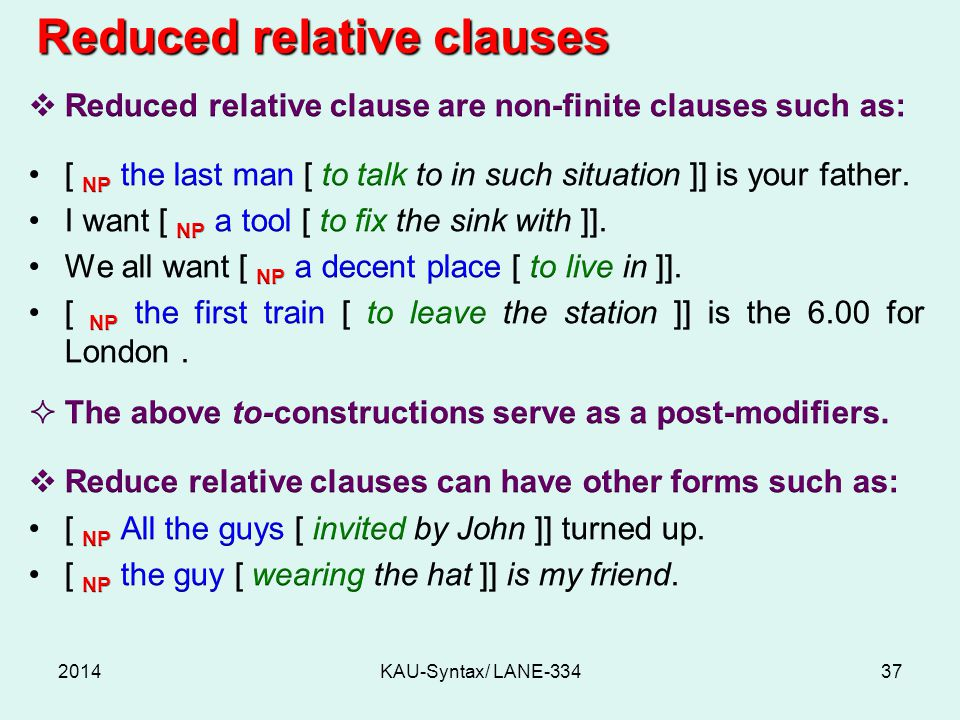 2014KAU-Syntax/ LANE-33437 Reduced relative clauses