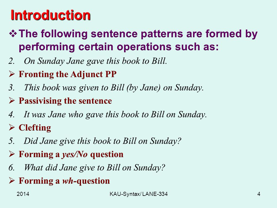 Introduction 2014KAU-Syntax/ LANE-3344