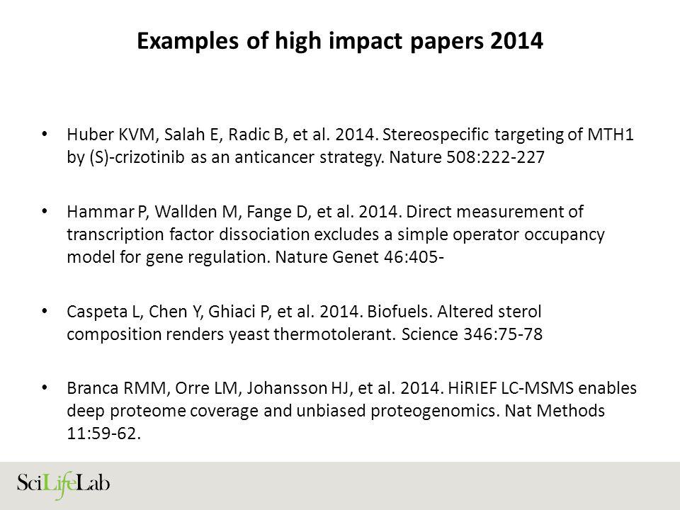 Examples of high impact papers 2014 Huber KVM, Salah E, Radic B, et al.