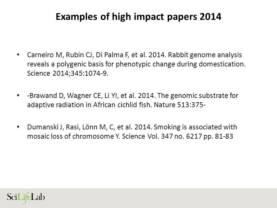 Examples of high impact papers 2014 Carneiro M, Rubin CJ, Di Palma F, et al.