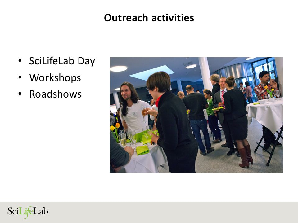 Outreach activities SciLifeLab Day Workshops Roadshows