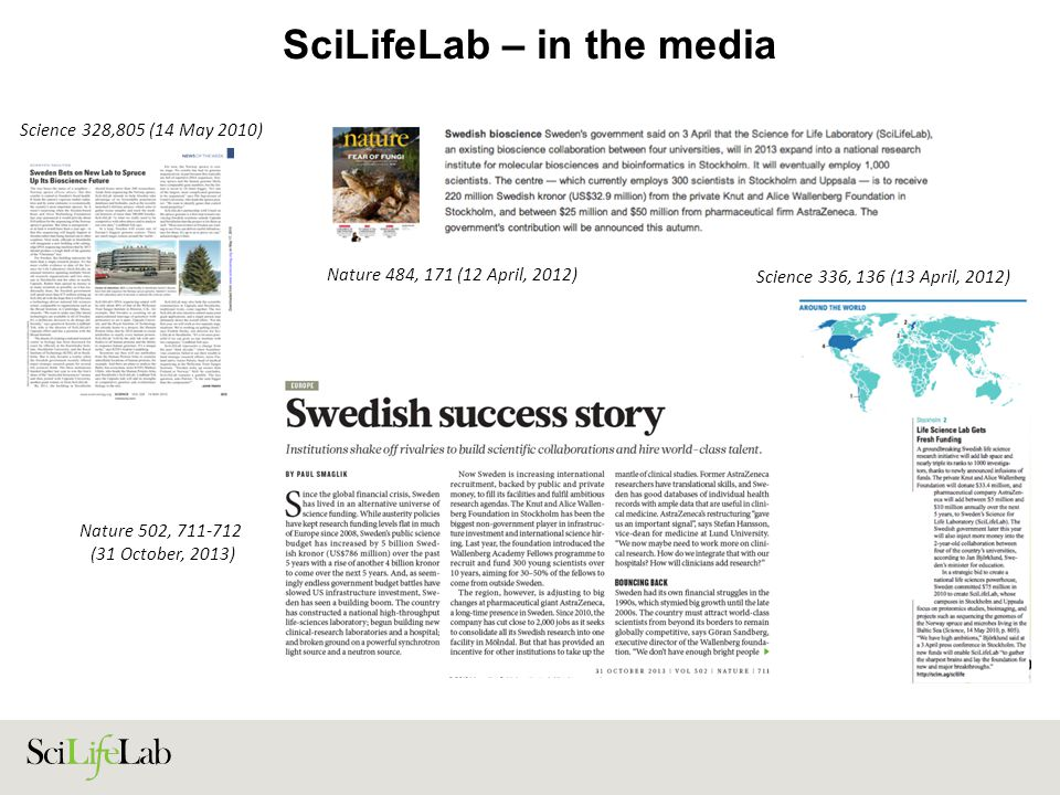 SciLifeLab – in the media Nature 484, 171 (12 April, 2012) Science 328,805 (14 May 2010) Science 336, 136 (13 April, 2012) Nature 502, 711-712 (31 Oct