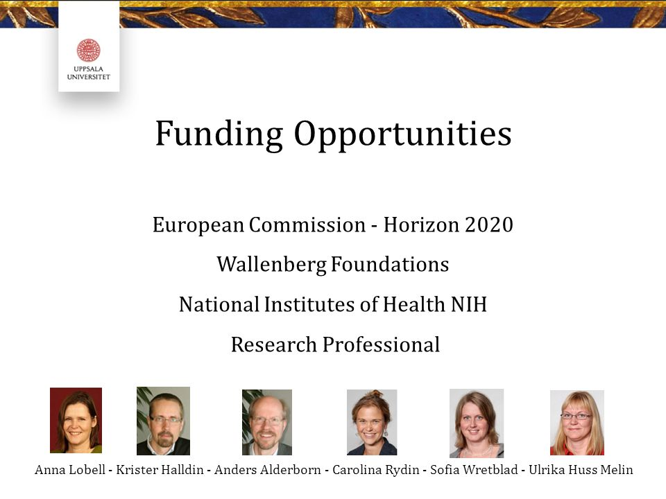 Funding Opportunities European Commission - Horizon 2020 Wallenberg Foundations National Institutes of Health NIH Research Professional Anna Lobell -