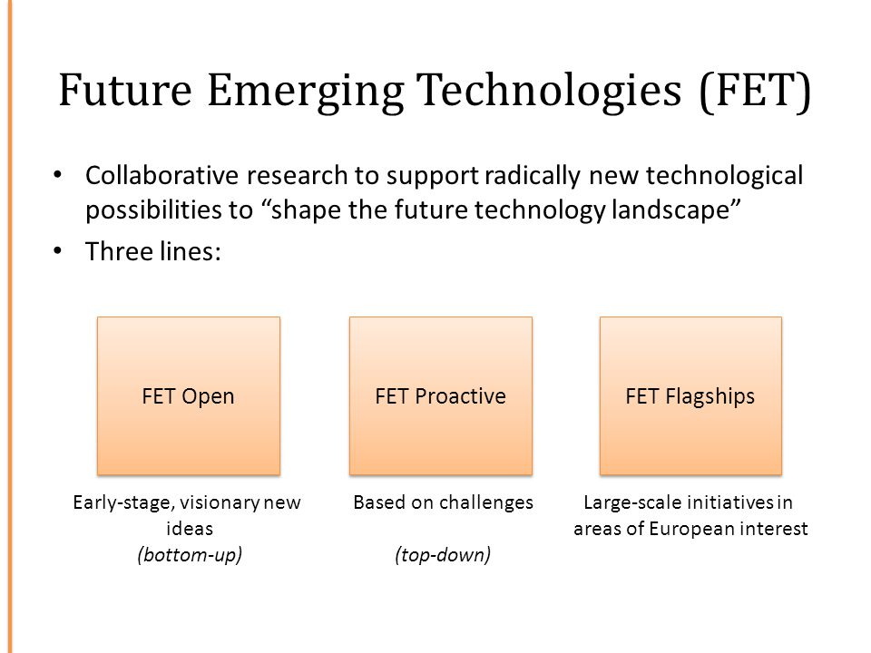 Future Emerging Technologies (FET) FET Open FET Flagships FET Proactive Early-stage, visionary new ideas (bottom-up) Large-scale initiatives in areas