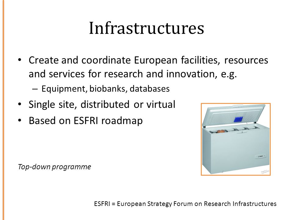 Infrastructures Create and coordinate European facilities, resources and services for research and innovation, e.g. – Equipment, biobanks, databases S