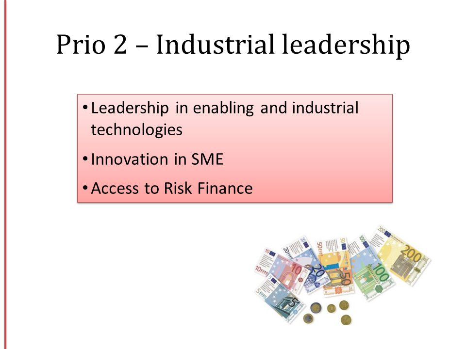 Leadership in enabling and industrial technologies Innovation in SME Access to Risk Finance Leadership in enabling and industrial technologies Innovat