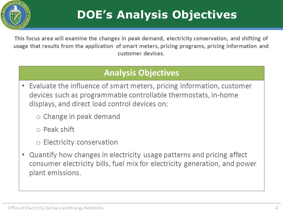 Office of Electricity Delivery and Energy Reliability 4 DOE's Analysis Objectives This focus area will examine the changes in peak demand, electricity