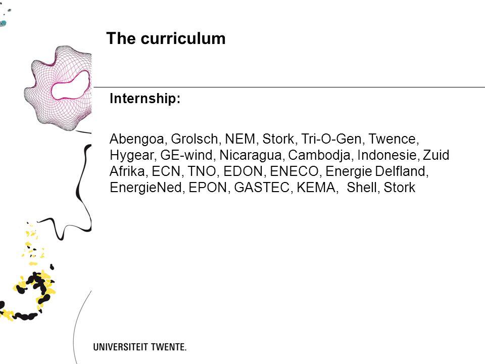 The curriculum Internship: Abengoa, Grolsch, NEM, Stork, Tri-O-Gen, Twence, Hygear, GE-wind, Nicaragua, Cambodja, Indonesie, Zuid Afrika, ECN, TNO, EDON, ENECO, Energie Delfland, EnergieNed, EPON, GASTEC, KEMA, Shell, Stork
