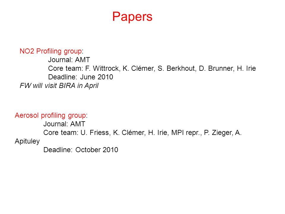 Papers NO2 Profiling group: Journal: AMT Core team: F.