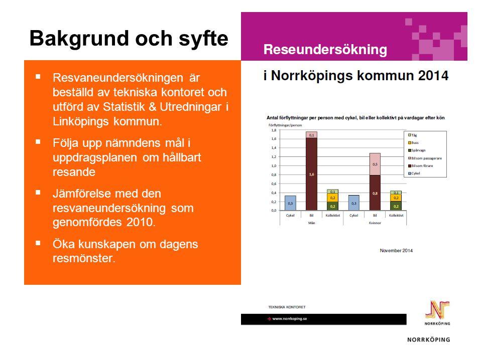 Bakgrund och syfte  Resvaneundersökningen är beställd av tekniska kontoret och utförd av Statistik & Utredningar i Linköpings kommun.  Följa upp näm