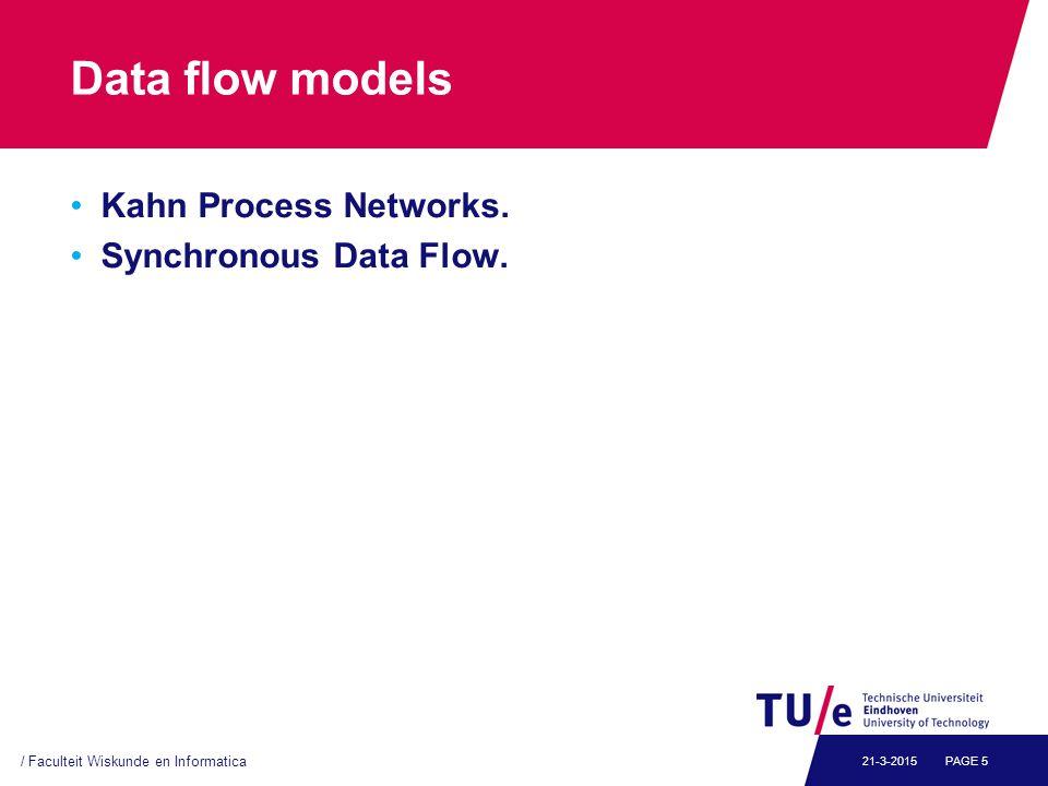 Data flow models Kahn Process Networks. Synchronous Data Flow.