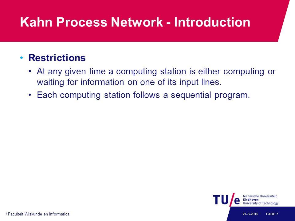 Kahn Process Network - Example From Kahn's original 1974 paper process f(in int u, in int v, out int w) { int i; bool b = true; for (;;) { i = b .