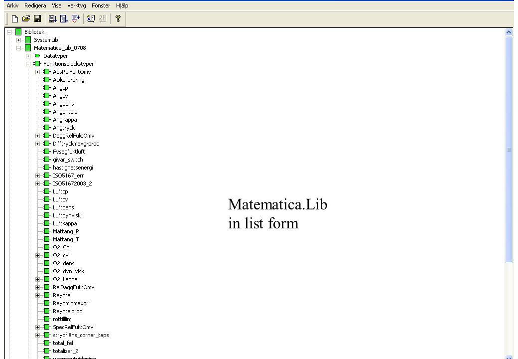 copyright (c) 2010 Stefan Rudbäck, Matematica,+46 708387910, mail@matematica.se, matematica.se sid 15 Matematica.Lib in list form