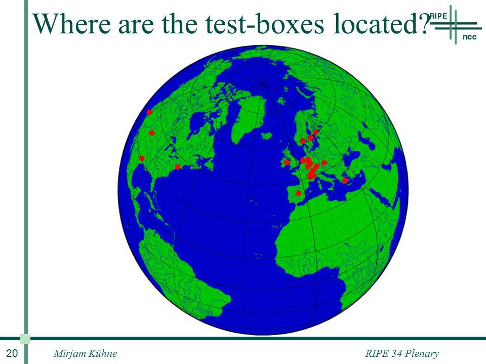 RIPE 34 PlenaryMirjam Kühne 20 Where are the test-boxes located