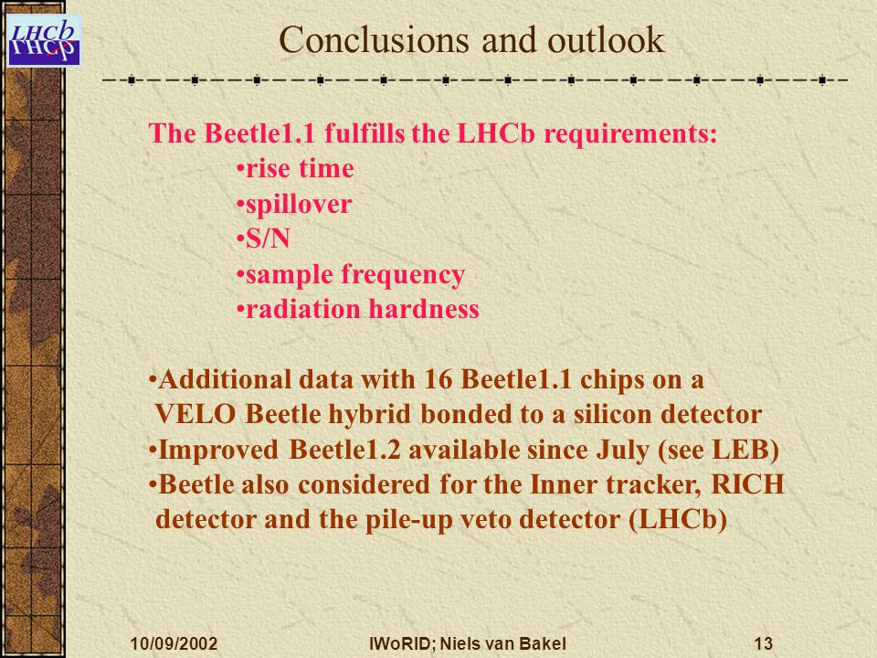 10/09/2002IWoRID; Niels van Bakel13 Conclusions and outlook The Beetle1.1 fulfills the LHCb requirements: rise time spillover S/N sample frequency rad