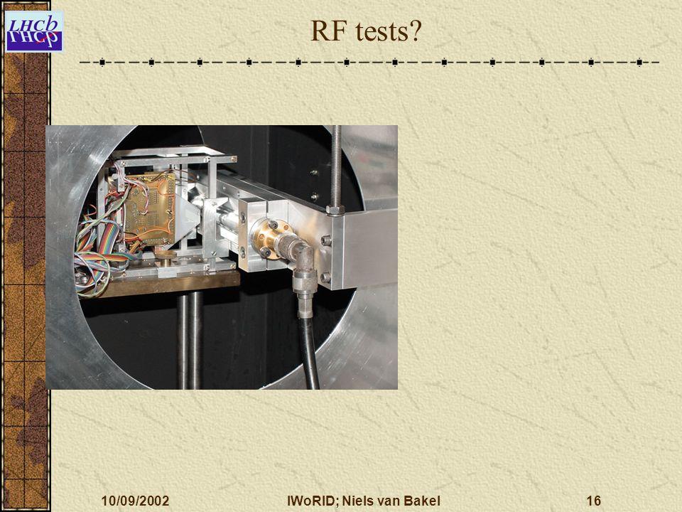 10/09/2002IWoRID; Niels van Bakel16 RF tests