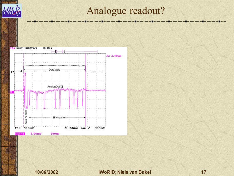 10/09/2002IWoRID; Niels van Bakel17 Analogue readout