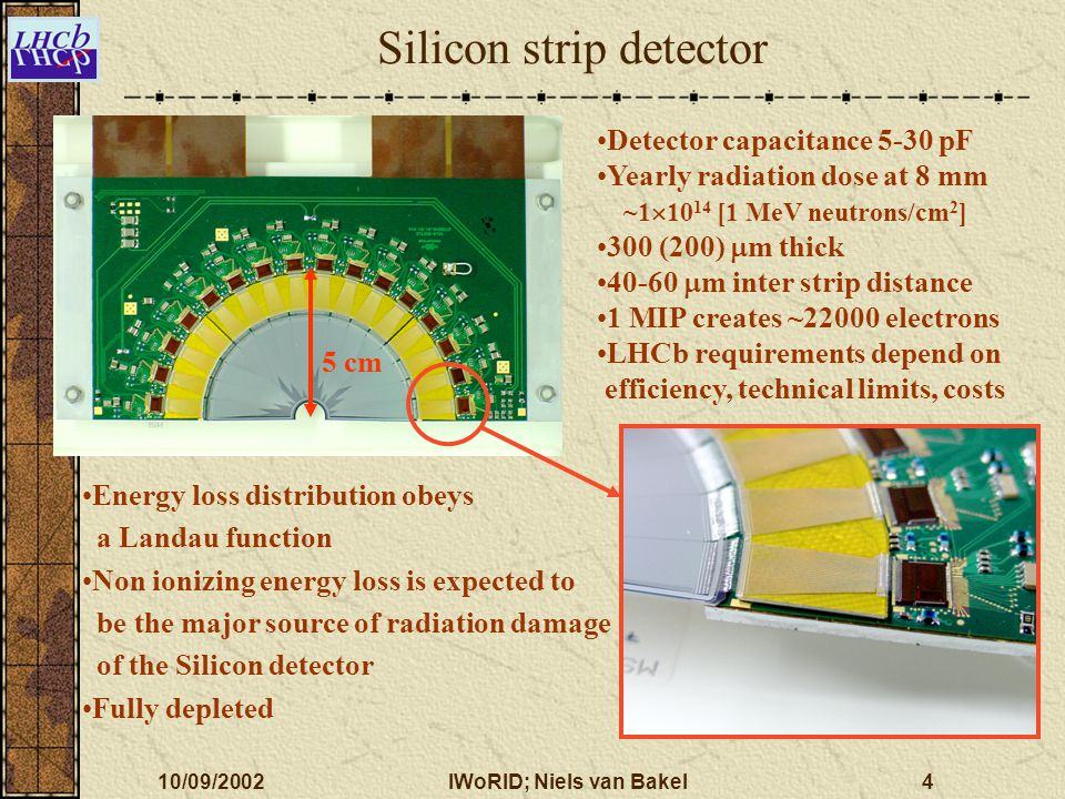 10/09/2002IWoRID; Niels van Bakel4 Silicon strip detector Detector capacitance 5-30 pF Yearly radiation dose at 8 mm ~1  10 14 [1 MeV neutrons/cm 2 ]