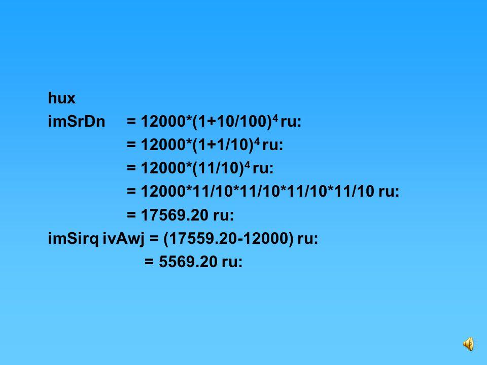 h`l ie`Qy mUlDn=12000 ru: ivAwj dI dr= 20% slwnw ivAwj dI dr pRqI rupWqrx smW Bwv iCmwhI Anuswr = ½ *20% =10% smW 2 swl ie`k swl dy smyN iv`c rupWqrx smyN dI sMiKAw=2*2 =4