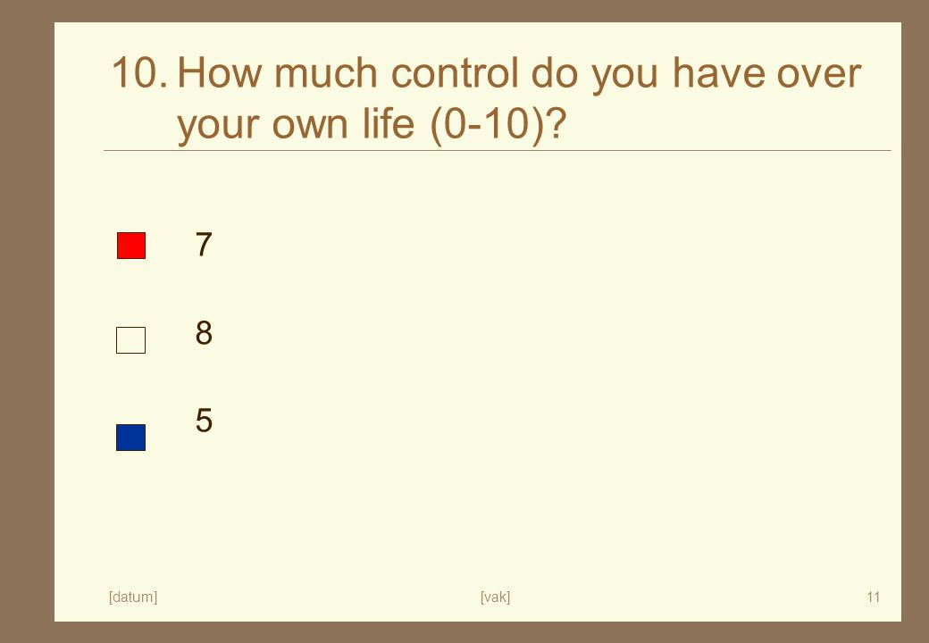[datum][vak]11 10.How much control do you have over your own life (0-10) 785785