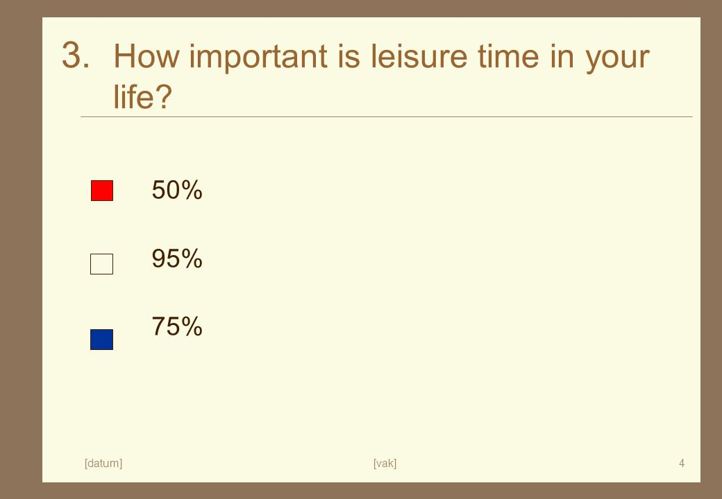 [datum][vak]4 3. How important is leisure time in your life 50% 95% 75%