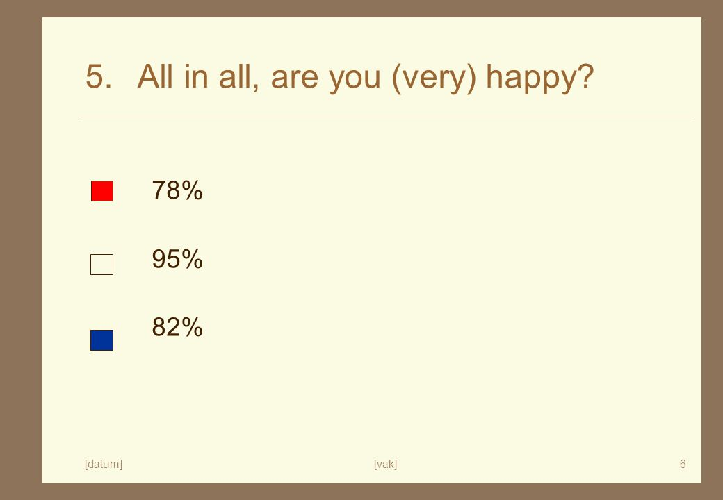 [datum][vak]6 5. All in all, are you (very) happy 78% 95% 82%