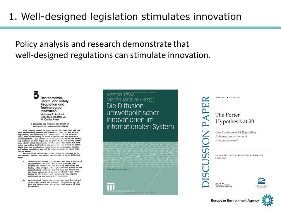 1. Well-designed legislation stimulates innovation Policy analysis and research demonstrate that well-designed regulations can stimulate innovation.
