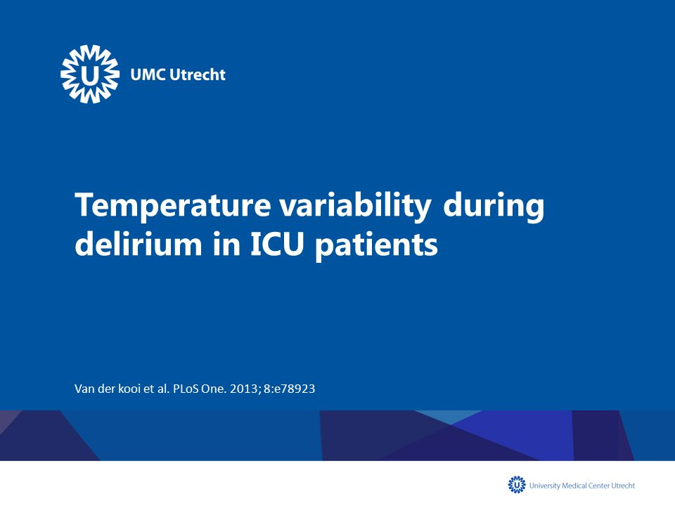 Delirium: manifestation of encephalopathy In delirium tremens, Wernicke encephalopathy and schizophrenia: temperature regulation is disturbed Does delirium affect thermoregulation.