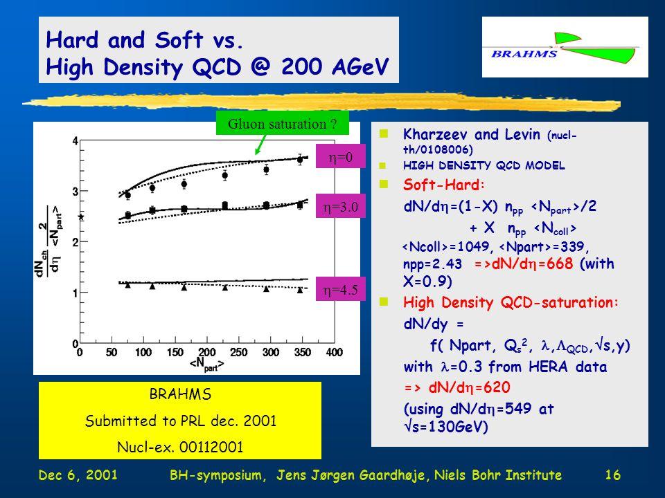 Dec 6, 2001BH-symposium, Jens Jørgen Gaardhøje, Niels Bohr Institute16 Hard and Soft vs.