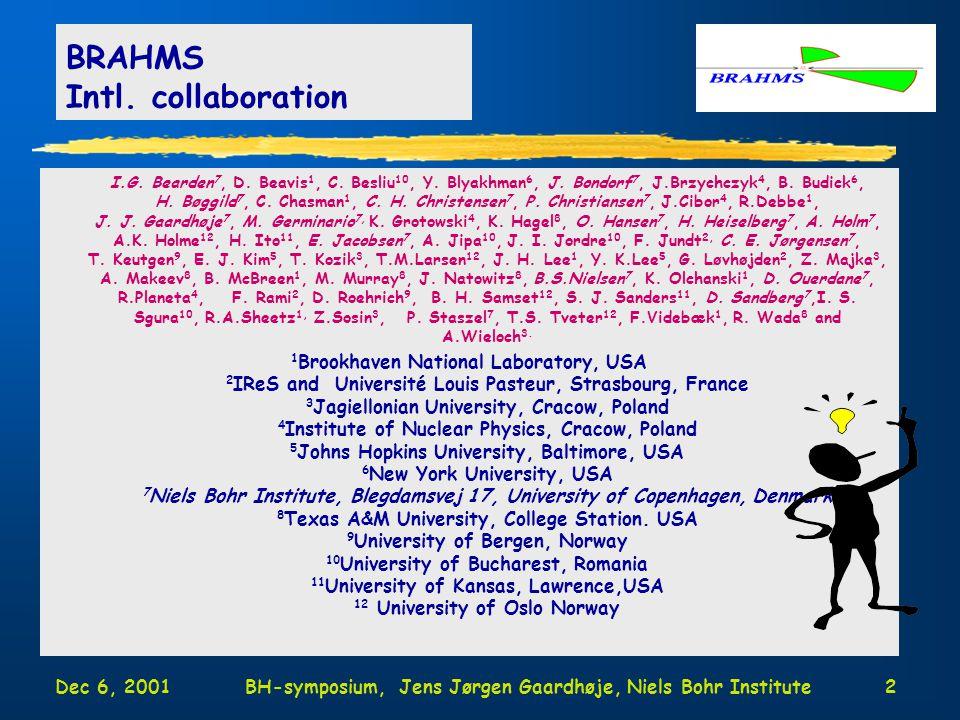Dec 6, 2001BH-symposium, Jens Jørgen Gaardhøje, Niels Bohr Institute2 I.G.