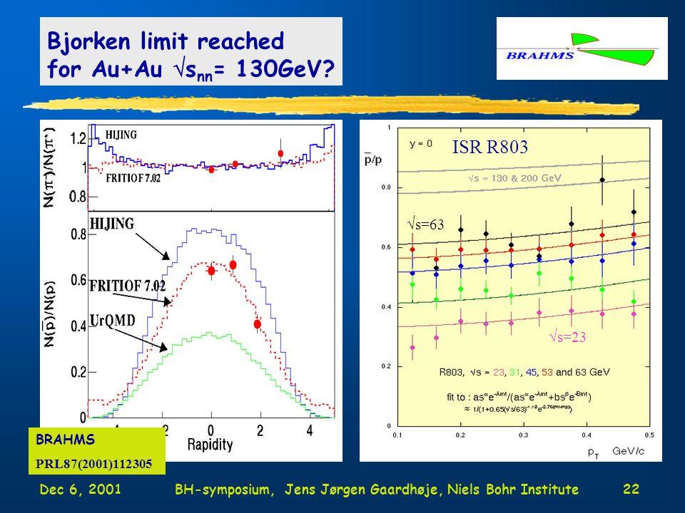 Dec 6, 2001BH-symposium, Jens Jørgen Gaardhøje, Niels Bohr Institute22 Bjorken limit reached for Au+Au  s nn = 130GeV.